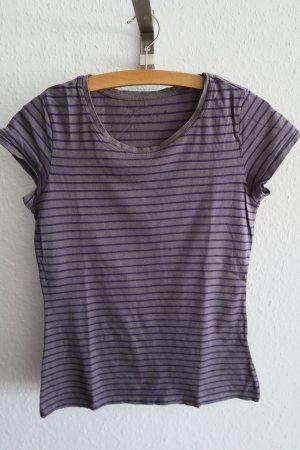 T-shirt lila grau gestreift Basic Sommer