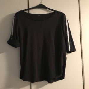T-Shirt/Longsleeve schwarz XL /XXL von Happy Size - 3/4 Ärmel mit weissem Streifen (können hochgeknöpft werden) - U Boot-Ausschnitt