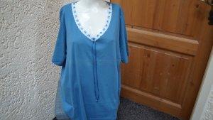 Camiseta azul celeste-blanco Algodón