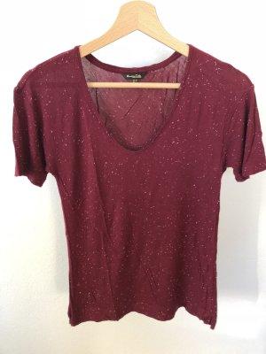 Massimo Dutti V-hals shirt bordeaux-donkerrood