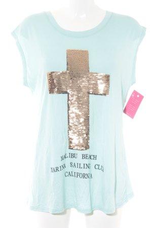 T-Shirt mint Schriftzug gedruckt Casual-Look