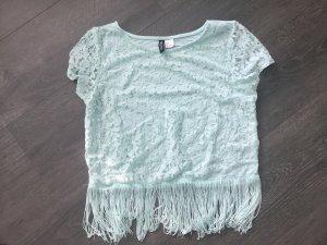 T-Shirt mintgrün / Türkis mit Franzen H&M S / 36 Bauchfreies