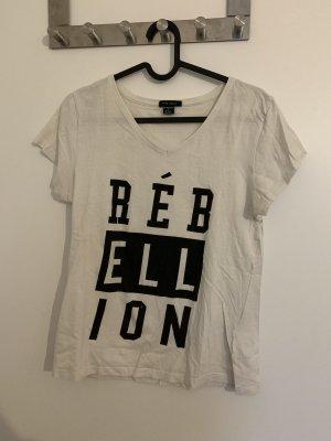 Amisu Camiseta estampada negro-blanco
