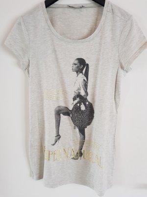 T-Shirt mit Bild und Glitzersteinen Beige NEU