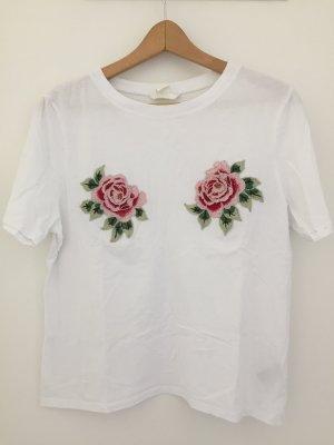 T-Shirt mit Blumen-Stickerei