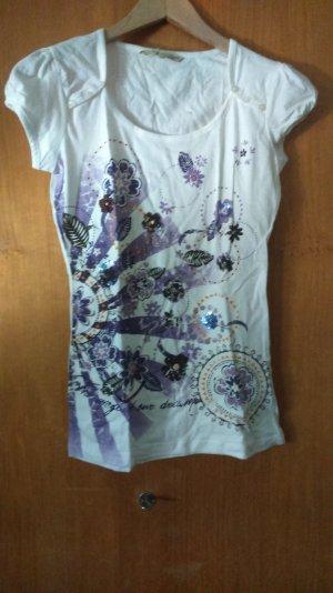 T-Shirt mit Blumendruck und Pailletten