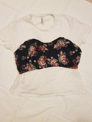 T-Shirt mit Blumenkorsage