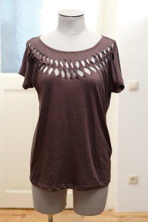 T-Shirt mit  Cut-Outs im Hippie-Stil - dunkelgrau