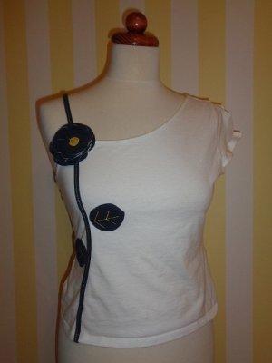 One Shoulder Top white-dark blue cotton