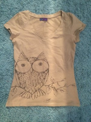 T-Shirt mit Eulenprint in Beige