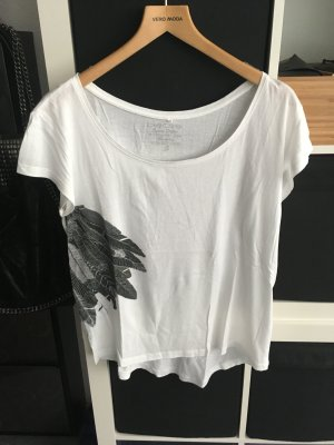 T-Shirt mit Federprint Weiß/Grau Pieces Gr. S