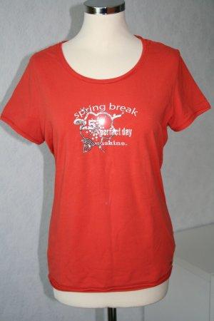 T-Shirt mit Front-Druck und Paillettenstickerei