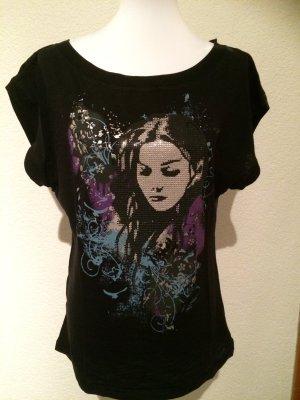 T-Shirt mit Glitzersteinen von Orsay- Gr. 44