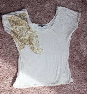 T-Shirt mit goldenen Pailletten