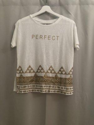 T-Shirt mit goldener Schrift