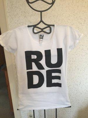 T-Shirt mit großem Textprint: RUDE