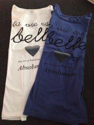 T-Shirt mit Herz-Aufdruck in blau & weiß