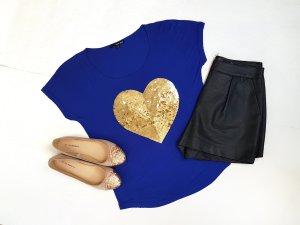 T-Shirt mit Herz Pailletten besetzt Gr.XS/S