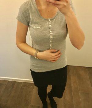 T-Shirt mit Knöpfen Shirt Oberteil kurzärmlig grau schlicht