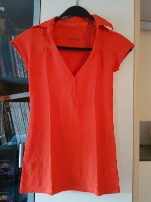 T-Shirt mit Knöpfen und Kragen orange