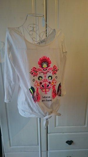 T-Shirt mit Knoten und Print