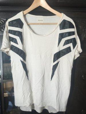 T Shirt mit Kunstleder Applikationen