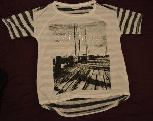 T-Shirt mit Materialmix und Motivdruck von fransa