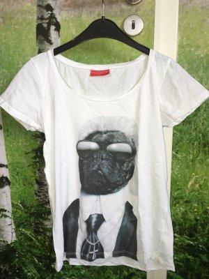 T-Shirt mit Mops als Karl Lagerfeld