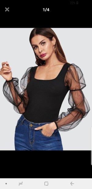 T-Shirt mit Netzstoff und Puffärmeln