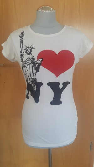 T-Shirt mit New York Motiv in weiß