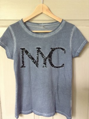 T-Shirt mit Pailetten, washed-look