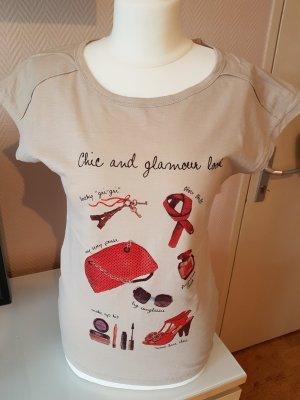 T-Shirt mit Print beige Gr. 34