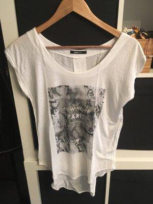 T-Shirt mit Print Gr. XS weiß/grau Materialmix