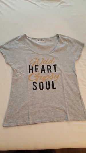T-Shirt mit Print in schwarz/gold