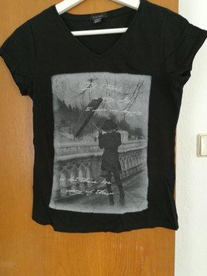 T-shirt mit Print schwarz grau