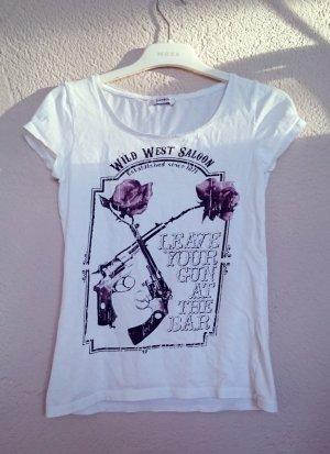 T-Shirt mit Print und Steinchen