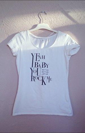 T-Shirt mit Print und Strasssteinchen