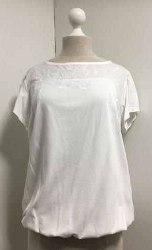 T-Shirt mit Rüschen und Stickerei