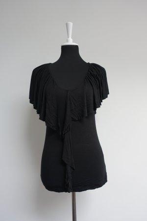 T-Shirt mit Rüschen Volant schwarz