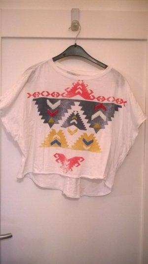 T-Shirt mit Schmetterlingsarmen und trendigem Inkamuster