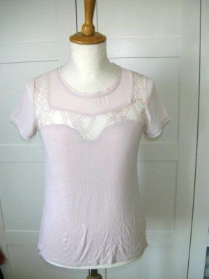 T-Shirt mit Spirtzeneinsatz, rosa, H&M, Gr. XS