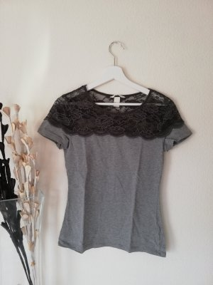 T-Shirt mit Spitze grau 36/38 semitransaparent