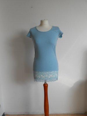 T-Shirt mit Spitze hellblau