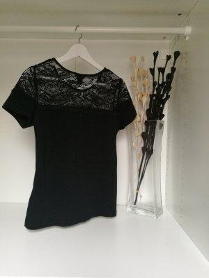 T-Shirt mit Spitze in schwarz