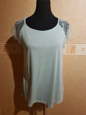 T-Shirt mit Spitze - Mint - Gr. 42 - Neu mit Etikett