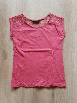 T-Shirt mit Spitze rot pink Blumen