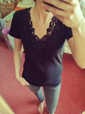 T-Shirt mit Spitze schwarz M/L