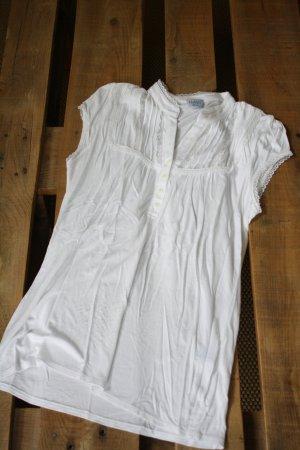 T-Shirt mit Spitzeneinsatz in weiß
