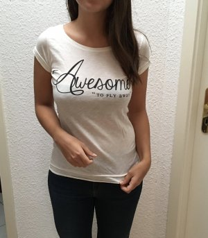 T-Shirt mit Spruch und Flügel am Rücken in weiß von Bershka, Gr. M (eher S)