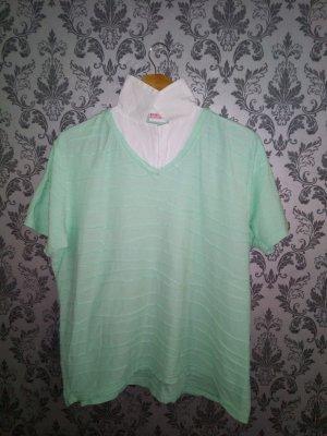 Gestreept shirt wit-turkoois